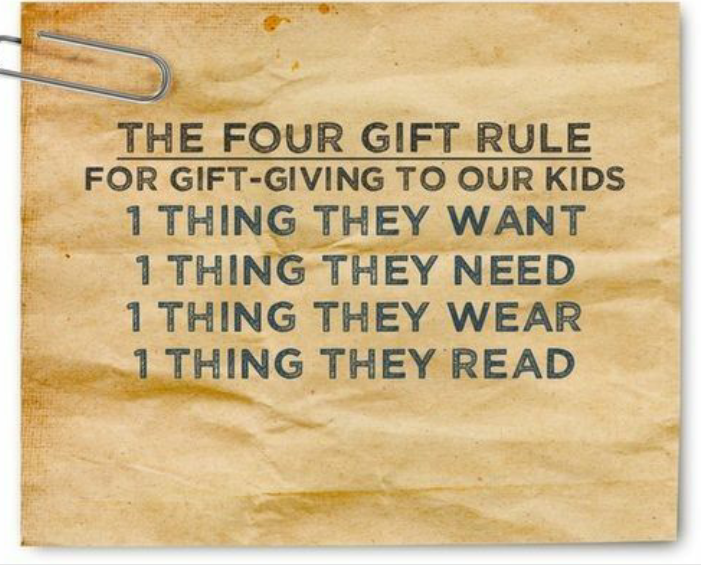 The Four Gift Rule for gift-giving to our kids: 1 thing they want, 1 thing they need, 1 thing they wear, 1 thing they read.